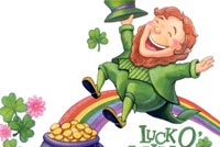 St patricks day email stationery. Leprechaun Lucky Wishes