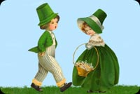 Boy & Girl Wearing Green Stationery, Backgrounds