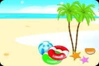 Summer email stationery. Beach Ball, White Sand, Blue Waters
