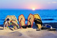Sunglasses And Sandals. Summer Time Stationery, Backgrounds