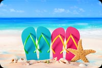 Summer Beach, Slippers, Starfish, & Seashell Stationery, Backgrounds