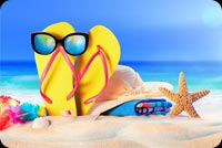 Summer Sandy Beach,  Starfish, Sunglasses, Flip-flops Stationery, Backgrounds