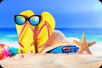 Summer Sandy Beach,  Starfish, Sunglasses, Flip-flops Stationery, Backgrounds