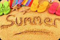 Summer Writing In The Sand, Flip-flops, Starfishes Stationery, Backgrounds