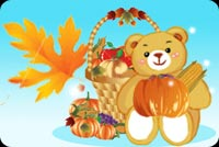 Thanksgiving email stationery. Bear, Leaf And Food