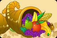 Thanksgiving email stationery. Horn Filled With Fruit