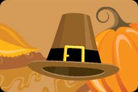 Thanksgiving email stationery. Brown Hat And Orange Pumpkin