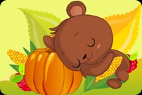 Bear Sleeps On Puumpkin Stationery, Backgrounds