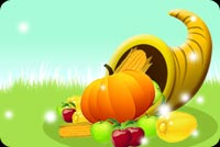 Thanksgiving email stationery. Horn Filled With Fruits