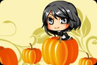 Little Girl Sitting On Pumpkin Stationery, Backgrounds