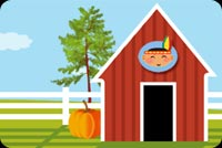 Thanksgiving email stationery. A Log Cabin, Pumpkin And Tree