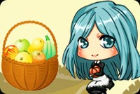 Thanksgiving email stationery. Blue Haired Girl And Fruit Basket