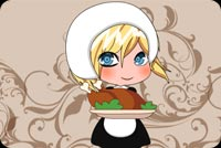 Thanksgiving email stationery. Little Girl Serving Turkey