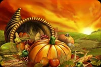 Thanksgiving email stationery. Fruit Horn And Thanksgiving Sunset