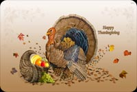 Thanksgiving email stationery. Turkey And Basket Of Fruits