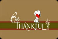 Thanksgiving email stationery. Snoopy Says Be Thankful