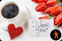 Animated Coffee Cup With I Love You Note Stationery, Backgrounds