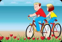 Valentines day email stationery. Romantic Bike Ride For 2