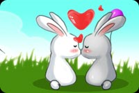 Valentines day email stationery. Bunnies Sealed With A Kiss
