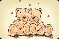 Valentines day email stationery. The 2 Bears Cudding