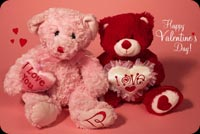 Valentines day email stationery. Teddy Bears With Heart
