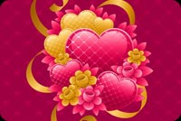 Valentines day email stationery. Pink Hearts And Yellow Flowers