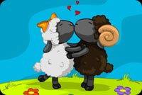 Valentines day email stationery. 2 Sheeps Dance Together