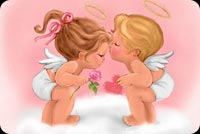 Valentines day email stationery. Cupids Kiss At Valentines