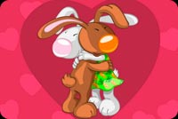 Valentines day email stationery. Bunnies Hug At Valentines