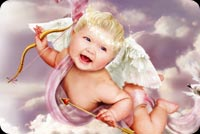 Cupid With Bow Smiling Stationery, Backgrounds