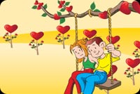 Valentines day email stationery. A Couple And A Swing