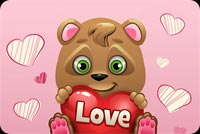 Valentines day email stationery. Teddy Bear Happy Valentine's Day