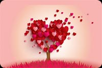 Valentines day email stationery. Love Tree