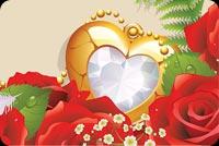 Valentine Rose Frame Golden Heart Stationery, Backgrounds