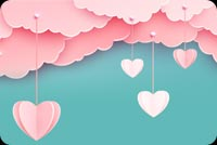 Pink Clouds Love In The Air Stationery, Backgrounds