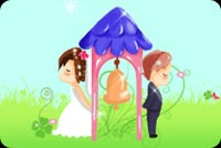 Wedding email stationery. Bride, Groom And A Bell