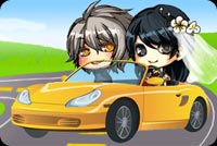 Married Couple Driving Off Stationery, Backgrounds