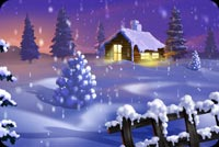 Snow Falls Over A Cottage Stationery, Backgrounds