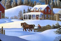Horses Travel At Winter Stationery, Backgrounds