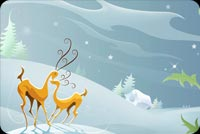Reindeers Play At Winter Stationery, Backgrounds