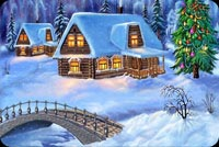 Winter email stationery. Log Cabins White With Snow