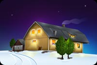 Fireplace Lit During Winter Stationery, Backgrounds