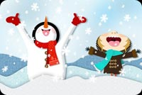 Winter email stationery. Frosty And Kid Enjoying Snow