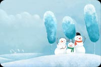 Winter email stationery. 3 Snowmen At Winter