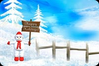 Winter email stationery. Frosty's Happy Holiday Greetings