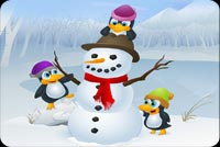3 Penguins And Frosty Stationery, Backgrounds