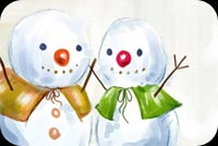 Winter email stationery. Cute Snowmen
