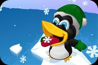Winter email stationery. Penguin Playing With Snowflakes