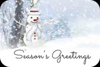 Winter email stationery. Snowman Greetings