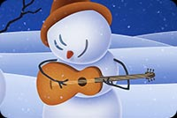 Winter email stationery. Snowmen Playing Music